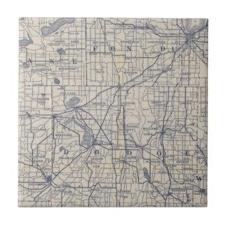 Mapa de camino de la bicicleta de Wisconsin 4 Tejas Cerámicas