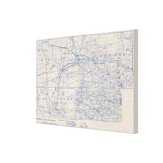 Mapa de camino de la bicicleta de Wisconsin 5 Lona Envuelta Para Galerías
