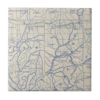 Mapa de camino de la bicicleta de Wisconsin 6 Azulejos Ceramicos