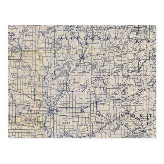 Mapa de camino de la bicicleta de Wisconsin 7 Tarjeta Postal