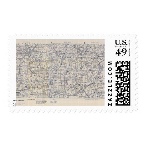 Mapa de camino de la bicicleta de Wisconsin 7 Timbre Postal