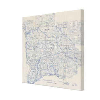 Mapa de camino de la bicicleta de Wisconsin Impresiones En Lona Estiradas