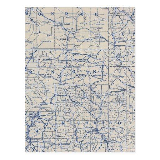 Mapa de camino de la bicicleta de Wisconsin Postales