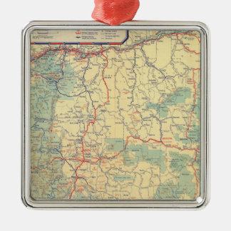 Mapa de camino de los Estados Occidentales Adorno Cuadrado Plateado