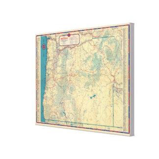 Mapa de camino de los Estados Occidentales Impresiones En Lienzo Estiradas
