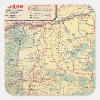 Mapa de camino de los Estados Occidentales Pegatina Cuadrada