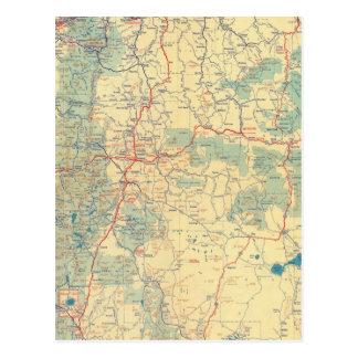 Mapa de camino de los Estados Occidentales Tarjeta Postal