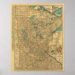 Mapa de camino de Minnesota Póster