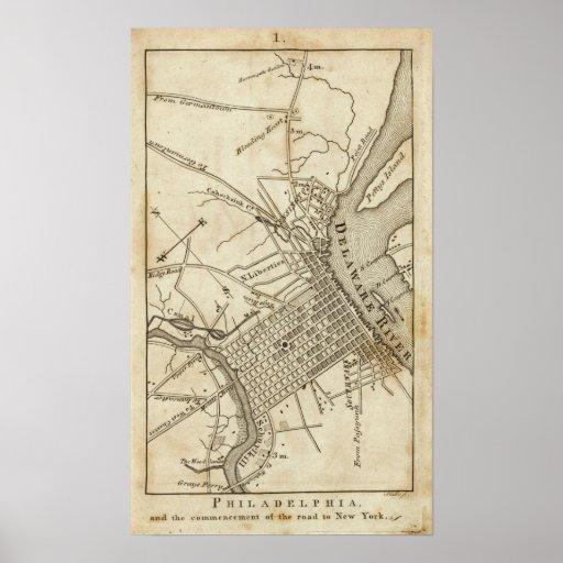 Mapa de camino de Philadelphia Posters