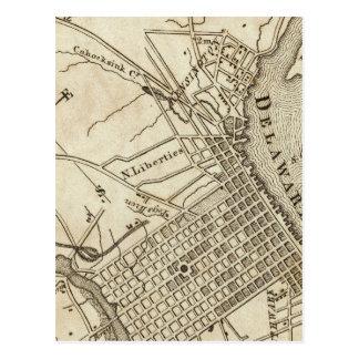 Mapa de camino de Philadelphia Tarjeta Postal