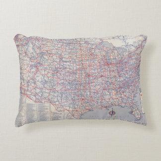 Mapa de camino Estados Unidos Cojín Decorativo