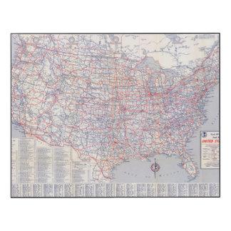 Mapa de camino Estados Unidos Impresión En Madera