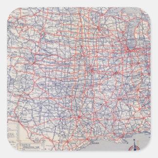 Mapa de camino Estados Unidos Pegatina Cuadrada