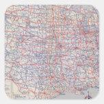 Mapa de camino Estados Unidos Pegatinas Cuadradas