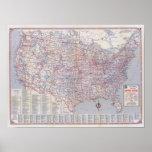 Mapa de camino Estados Unidos Poster