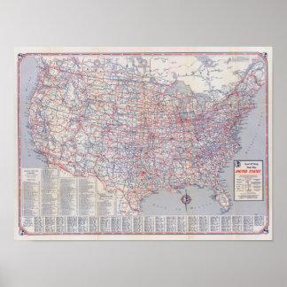 Mapa de camino Estados Unidos Póster