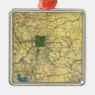 Mapa de camino Idaho, Mont, mapa de Wyo Adorno Navideño Cuadrado De Metal