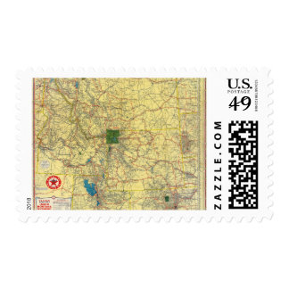 Mapa de camino Idaho, Mont, mapa de Wyo Estampillas