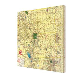 Mapa de camino Idaho, Mont, mapa de Wyo Impresion En Lona