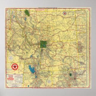 Mapa de camino Idaho, Mont, mapa de Wyo Póster