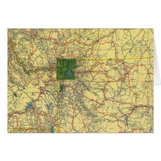 Mapa de camino Idaho, Mont, mapa de Wyo Tarjeta De Felicitación