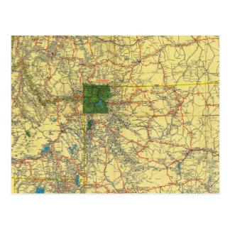 Mapa de camino Idaho, Mont, mapa de Wyo Tarjeta Postal