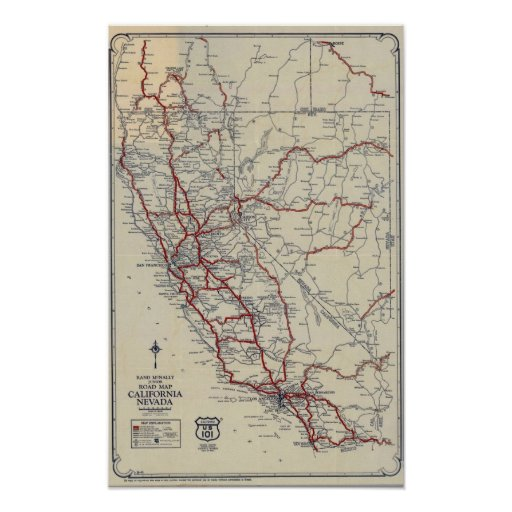 Mapa de camino menor de McNally del rand Californi Impresiones