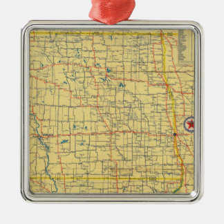 Mapa de camino N y S Dakota Adorno Navideño Cuadrado De Metal