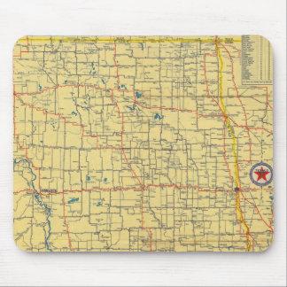 Mapa de camino N y S Dakota Alfombrillas De Ratones