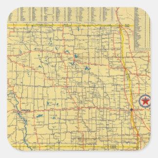 Mapa de camino N y S Dakota Calcomanía Cuadradase