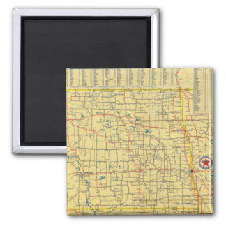 Mapa de camino N y S Dakota Imán Cuadrado