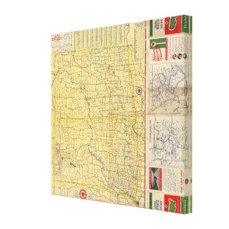 Mapa de camino N y S Dakota Impresiones De Lienzo