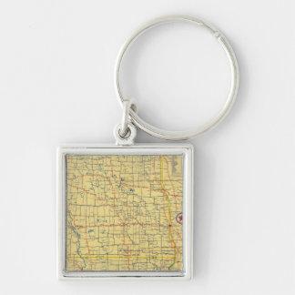 Mapa de camino N y S Dakota Llavero Cuadrado Plateado