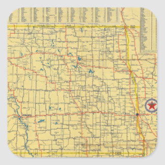 Mapa de camino N y S Dakota Pegatina Cuadrada