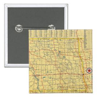 Mapa de camino N y S Dakota Pin Cuadrada 5 Cm