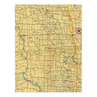 Mapa de camino N y S Dakota Postales