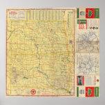 Mapa de camino N y S Dakota Póster