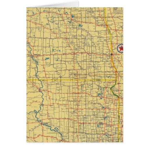 Mapa de camino N y S Dakota Tarjeta De Felicitación