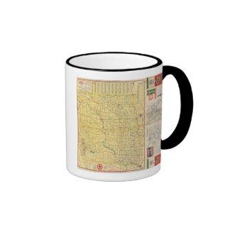 Mapa de camino N y S Dakota Taza De Dos Colores