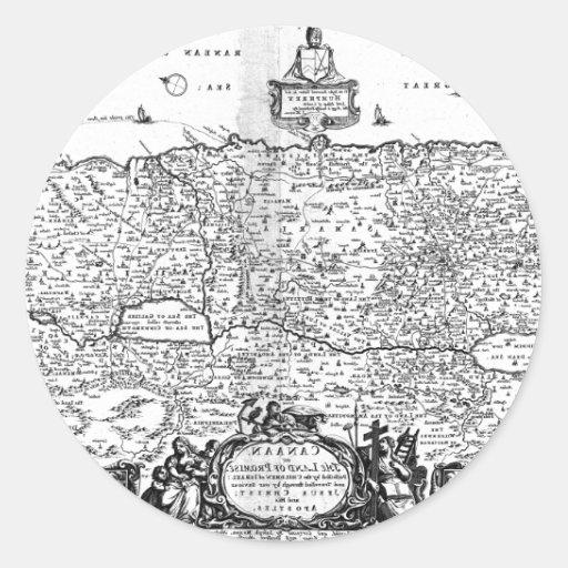 Mapa de Canaan Pegatina Redonda
