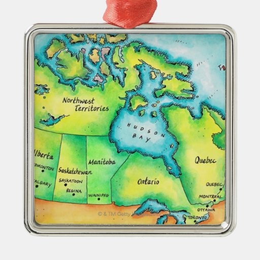 Mapa de Canadá 2 Adorno Cuadrado Plateado