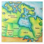 Mapa de Canadá 2 Azulejo Cuadrado Grande