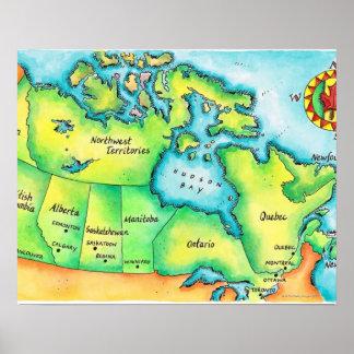 Mapa de Canadá 2 Posters