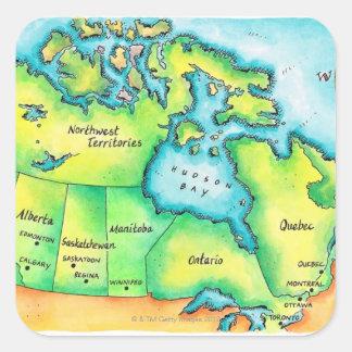 Mapa de Canadá 2 Pegatina Cuadrada