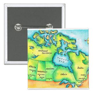Mapa de Canadá 2 Pin Cuadrado