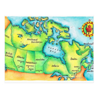 Mapa de Canadá 2 Postal