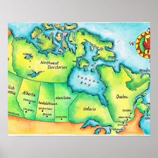 Mapa de Canadá 2 Póster