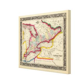 Mapa de Canadá del oeste en condados Lona Estirada Galerías