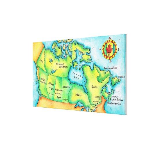 Mapa de Canadá Impresión En Lienzo