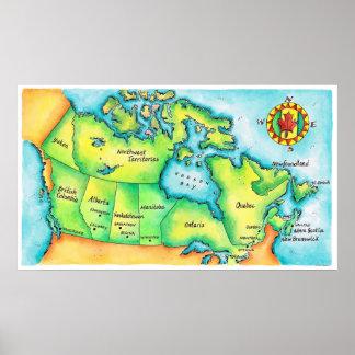 Mapa de Canadá Impresiones